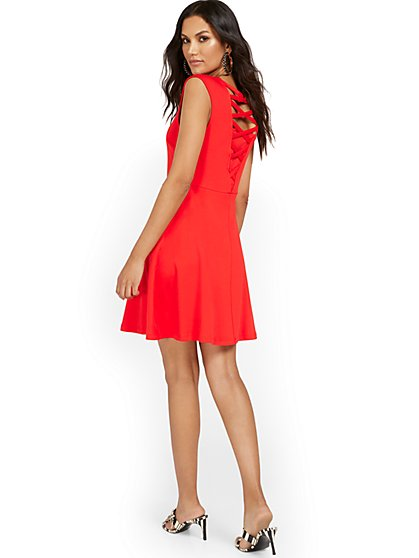 Lattice-Back Sleeveless Fit and Flare Dress - City Knits - New York & Company