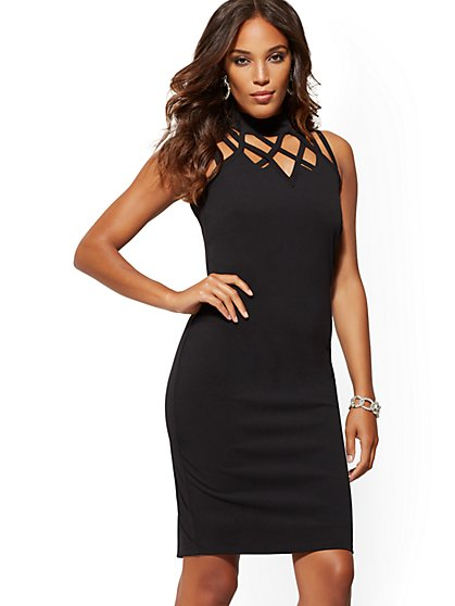 Lattice-Detail Sheath Dress - Magic Crepe - New York & Company