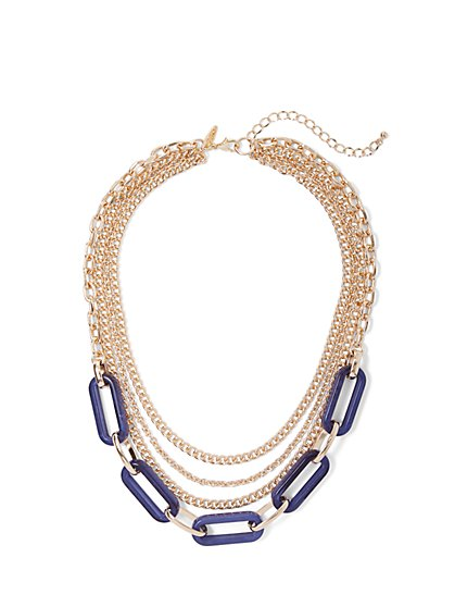 Layered Goldtone Faux-Stone Necklace - New York & Company
