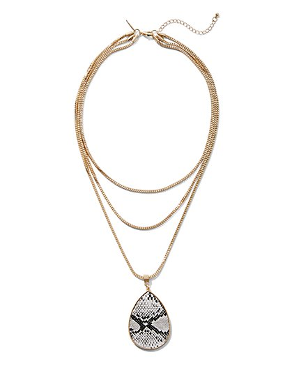 Layered Snake-Print Pendant Necklace - New York & Company