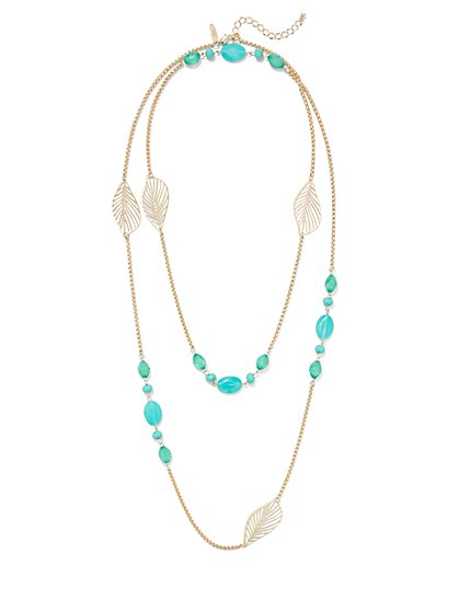 Leaf-Accent Beaded Necklace - New York & Company