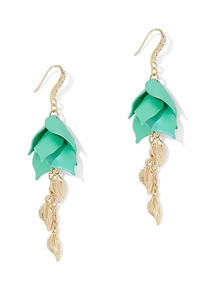 Leaf-Accent Linear Drop Earring - New York & Company