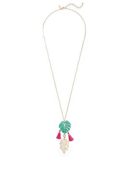 Leaf & Tassel Pendant Necklace - New York & Company