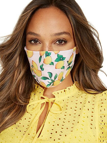 Lemon-Print Face Mask - New York & Company