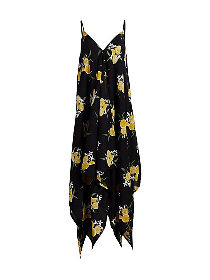 Lemon-Print Handkerchief-Hem Swing Dress - New York & Company