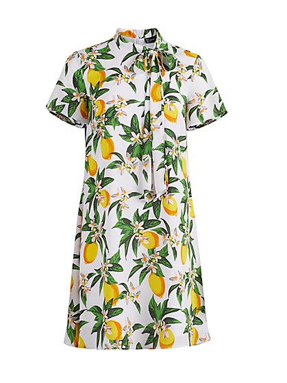 Lemon-Print Tie-Front Shift Dress - New York & Company