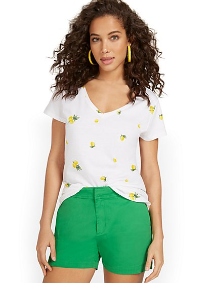 Lemon V-Neck Perfect Tee - New York & Company