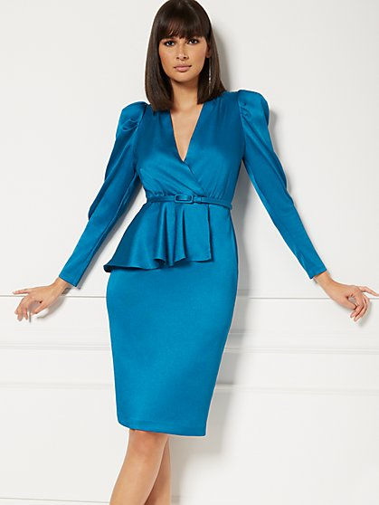 Lennox Teal Wrap Sheath Dress - Eva Mendes Collection - New York & Company