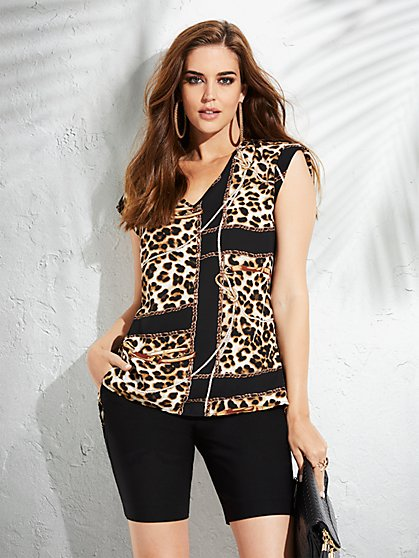 Leopard & Link-Print Split-Back Blouse - 7th Avenue - New York & Company
