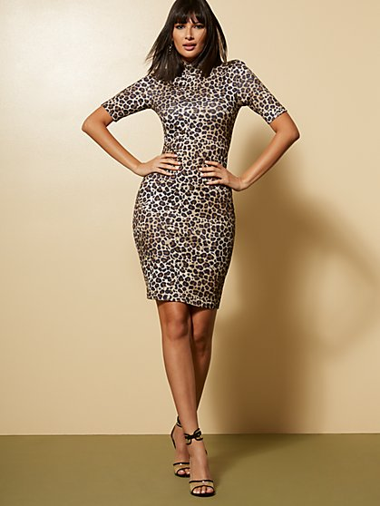 Leopard Mock-Neck Sheath Dress - New York & Company