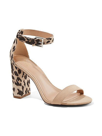 Leopard-Print Ankle Strap Sandal - New York & Company