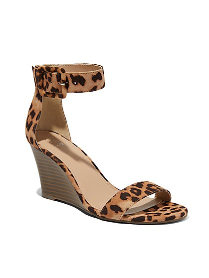 Leopard-Print Ankle-Strap Wedge Sandal - New York & Company