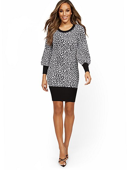 Leopard-Print Balloon-Sleeve Sweater Dress - New York & Company