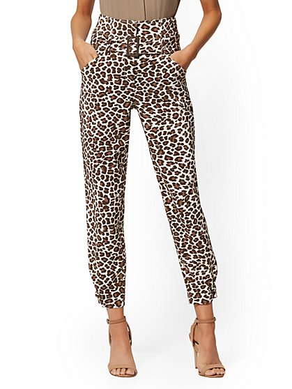 Leopard-Print Belted Ankle Pant - 7th Avenue - New York & Company