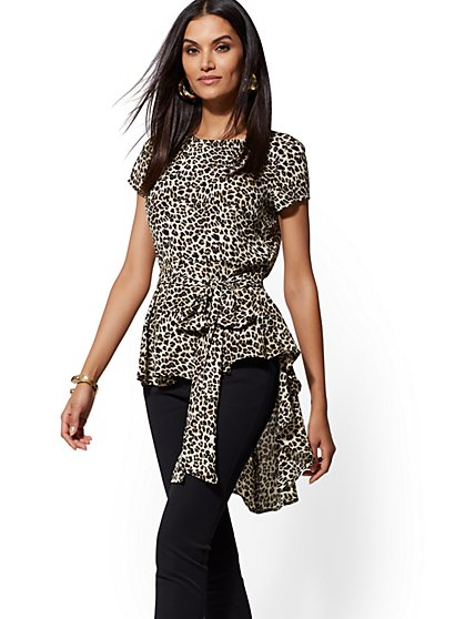 Leopard-Print Belted Hi-Lo Top - New York & Company