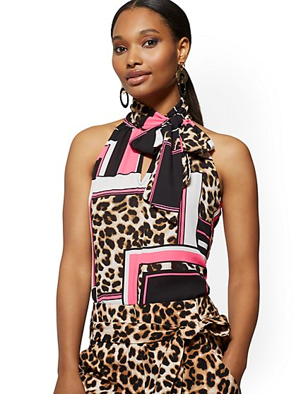 Leopard Print Bow-Accent Halter Blouse - 7th Avenue - New York & Company