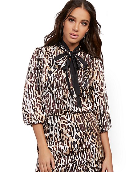 Leopard-Print Bow Blouse - 7th Avenue - New York & Company