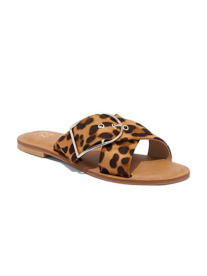 Leopard-Print Buckle Slide Sandal - New York & Company
