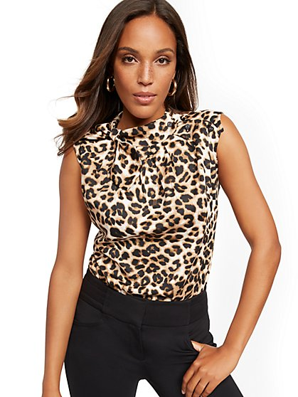 Leopard-Print Button- & Bow-Accent Top - 7th Avenue - New York & Company