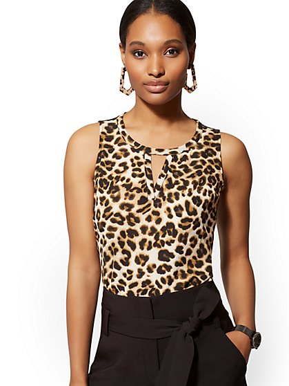 Leopard-Print Chiffon-Overlay Sleeveless Top - New York & Company