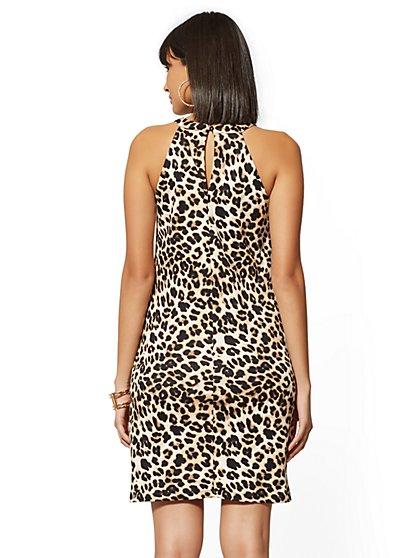 ac9b023023 ... Leopard-Print Cotton Halter Shift Dress - New York   Company ...