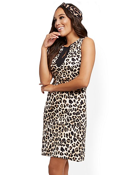 Leopard-Print Cotton Shift Dress - New York & Company