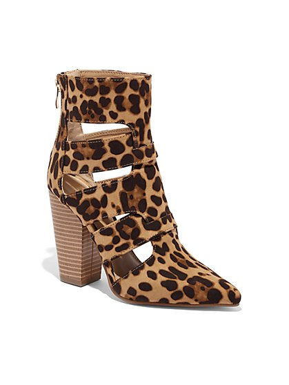 Leopard-Print Cutout Bootie - New York & Company