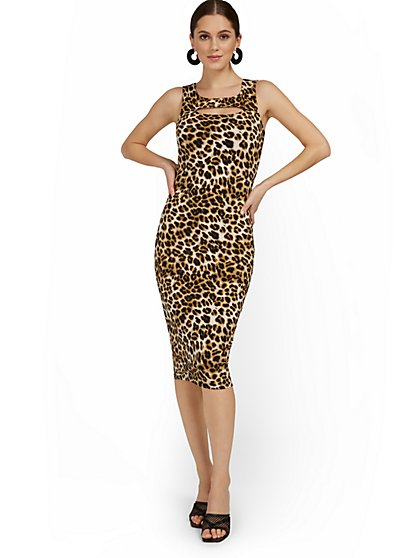 Leopard-Print Cutout Tank Midi Dress - Everyday Collection - New York & Company