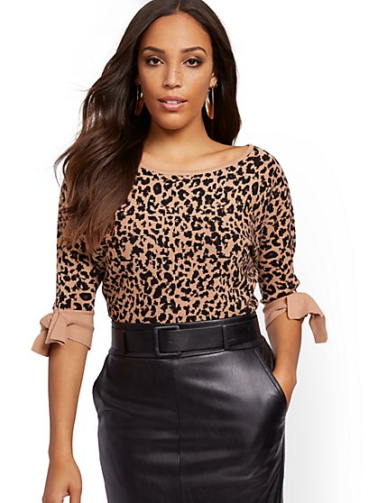 Leopard-Print Dolman Sweater - 7th Avenue - New York & Company