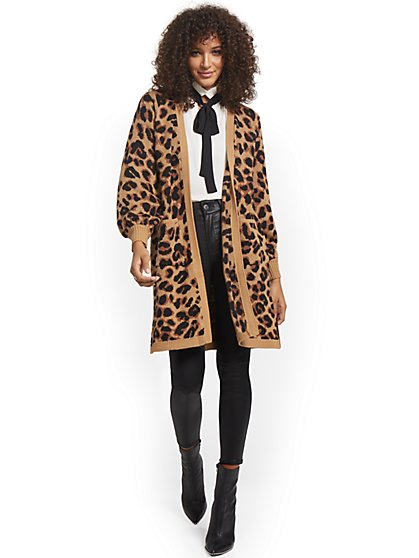 Leopard-Print Duster Cardigan - New York & Company
