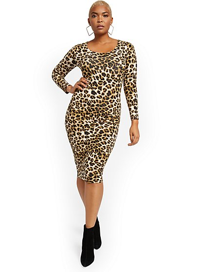 Leopard-Print Everywhere Midi Dress - New York & Company