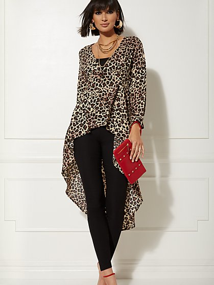 Leopard-Print Extreme Hi-Lo Blouse - New York & Company