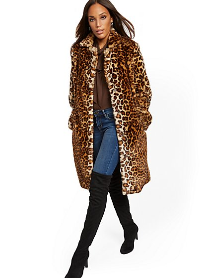 Leopard-Print Faux-Fur Coat - New York & Company