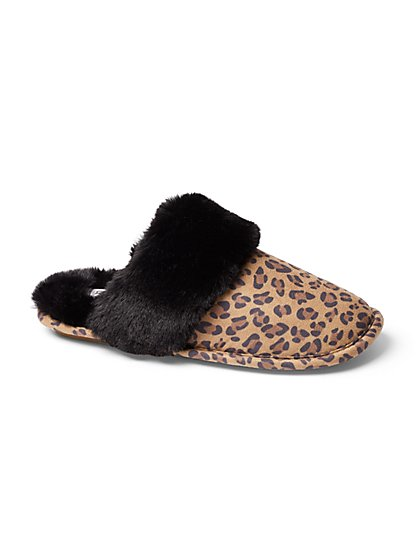 Leopard-Print Faux-Fur Scuff Slipper - New York & Company