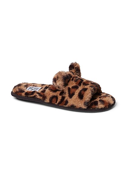 Leopard-Print Faux-Fur Slide Slipper - New York & Company