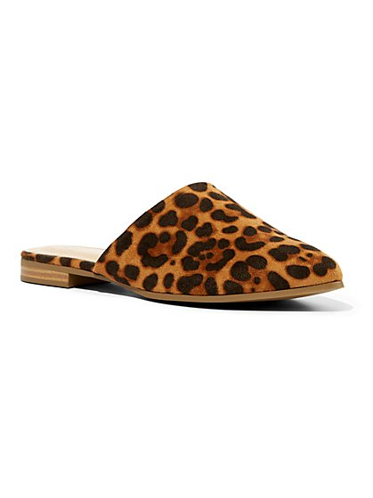 Leopard-Print Faux-Suede Mule - New York & Company