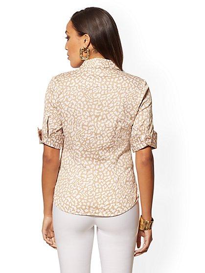 4f324642 ... Leopard-Print French Cuff Madison Stretch Shirt - 7th Avenue - New York  & Company