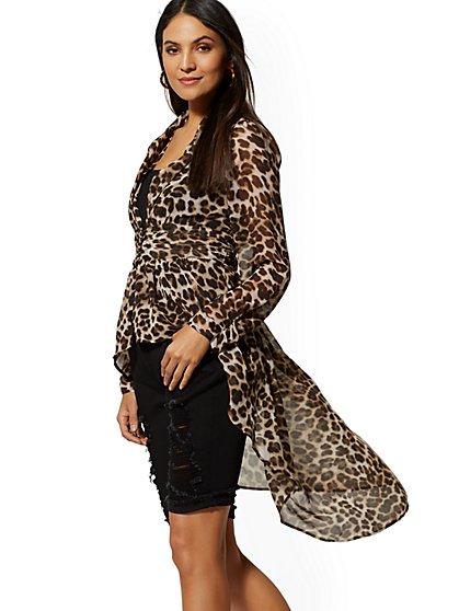 a86845588a40 Leopard-Print Hi-Lo Blouse - New York & Company ...
