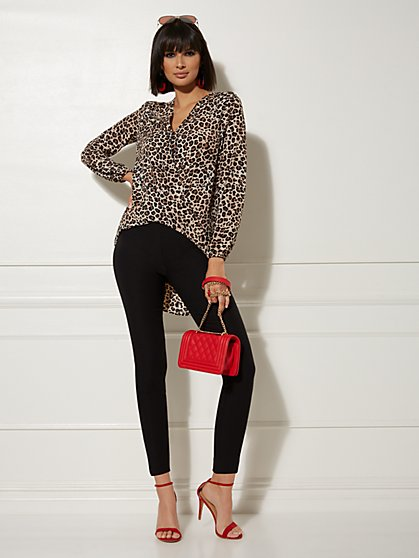 Leopard-Print Hi-Lo Wrap Blouse - New York & Company