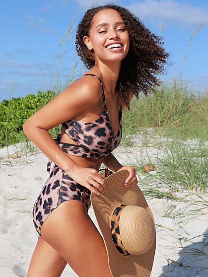 Leopard-Print High-Waisted Bikini Bottom - NY&C Swimwear - New York & Company