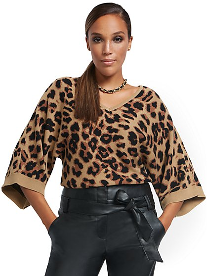 Leopard-Print Kimono Sleeve V-Neck Sweater - New York & Company