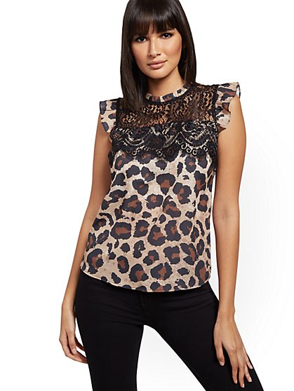 Leopard-Print Lace-Overlay Top - New York & Company