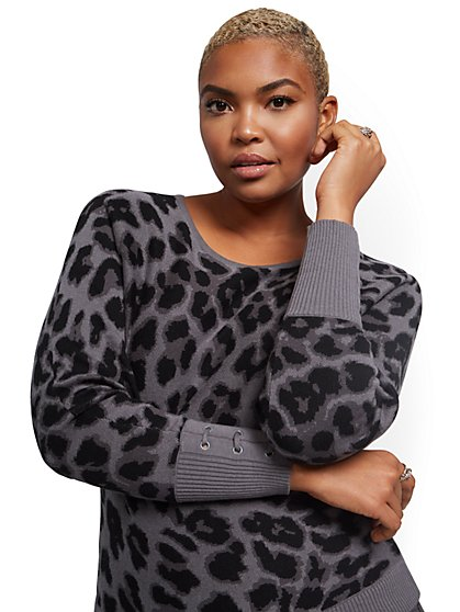 Leopard-Print Lace-Up Cuff Dolman Sweater - New York & Company