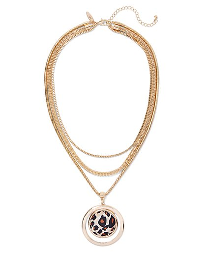 Leopard-Print Layered Necklace - New York & Company
