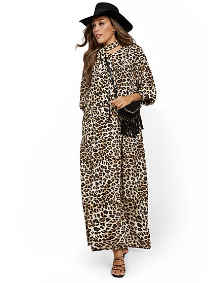 Leopard-Print Maxi Dress - New York & Company