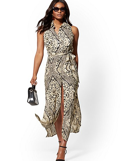 Leopard-Print Maxi Shirtdress - New York & Company
