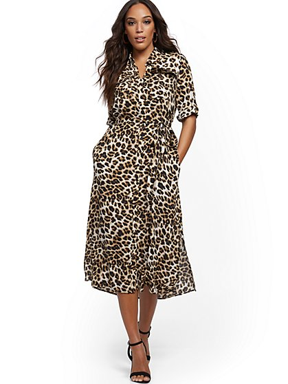 Leopard-Print Midi Shirtdress - New York & Company