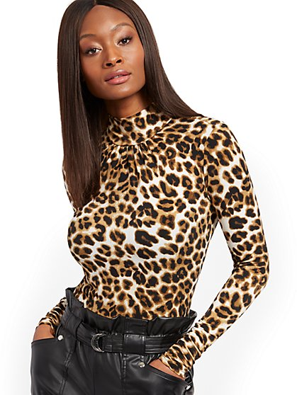 Leopard-Print Mock-Neck Top - 7th Avenue - New York & Company