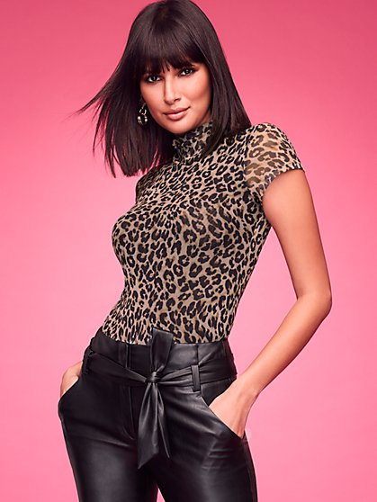 Leopard-Print Mock-Neck Top - Sweet Pea - New York & Company