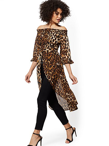 Leopard-Print Off-The-Shoulder Hi-Lo Blouse - New York & Company